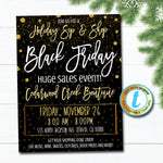 Black Friday Shopping Flyer, Holiday Store Invitation, Christmas Boutique Event, Small Business Saturday, Christmas Gold, Editable Template