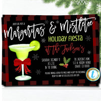 Margaritas and Mistletoe Christmas Party Invitation, Christmas Fiesta, Holiday Cocktail Party, Editable Template, DIY Self-Editing Download