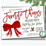 Favorite Things Christmas Party Invitation, Christmas Modern Farmhouse Gingham, Gift Exchange Girls Holiday Party Editable Template Download