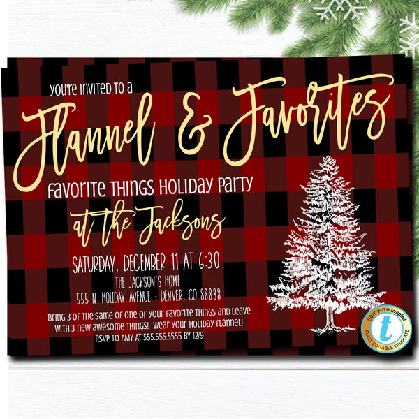 Favorite Things Party Invitation, Christmas Party Plaid Invitation, Flannel and Favorites Party Editable Template, DIY Self-Editing Download