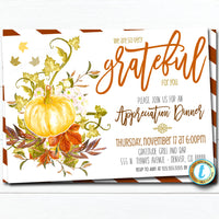 Fall Appreciation Invitation, Grateful For You Teacher Staff Invitation Pumpkin Printable Boss Client Thank You, INSTANT DOWNLOAD Template