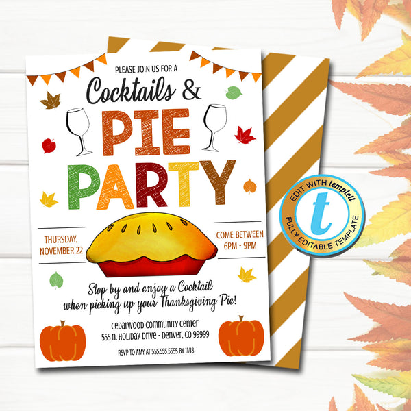 Pie Party Invite, Editable Cocktails and Pie Party Flyer, Fall Thanksgiving Pumpkin Pickup, Customer Appreciation, INSTANT DOWNLOAD Template