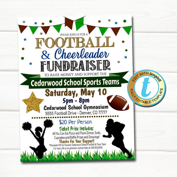 Football & Cheerleader Fundraiser Flyer, Sports Team Banquet Invitation, School Coach Event Pto Pta, Self Editing INSTANT DOWNLOAD Template