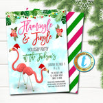 Christmas Invitation, Flamingo Flamingle and Jingle Party, Tropical Preppy Christmas in July Luau Beach Invite, Editable Template Download