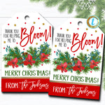 Christmas Floral Gift Tags, Holiday Thank You for Helping Me Bloom Poinsettia Gift Tag, Coach Teacher Staff  Label, DIY Editable Template