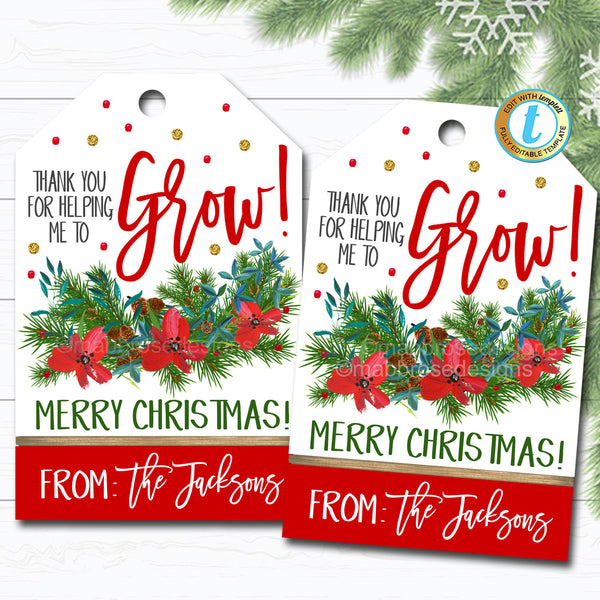 Christmas Floral Gift Tags, Holiday Thank You for Helping Me Grow Poinsettia Gift Tag, Coach Teacher Staff Xmas Label, DIY Editable Template