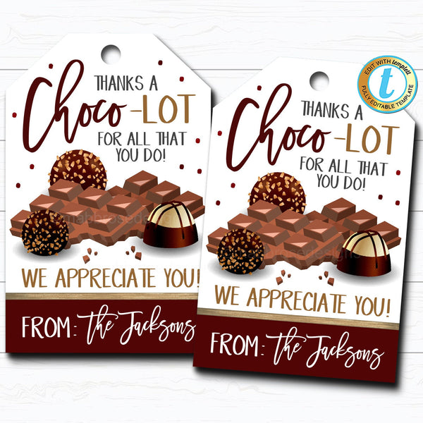Chocolate Candy Gift Tags, Thanks a Choco-Lot, Staff Employee Teacher Appreciation Week Favor Tag, School Pto Pta, DIY Editable Template