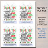 Christmas Mint Tags, Thank You Tags, Volunteer Labels, Printable, INSTANT + EDITABLE, Christmas Holiday Gift, PTA Staff Gift Appreciation