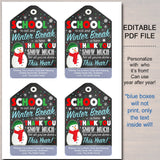 Christmas Gift Tags, School's Out Winter Break Thank You Snow Much,Teacher Staff Vounteer, Xmas School Pto Pta INSTANT DOWNLOAD Editable PDF