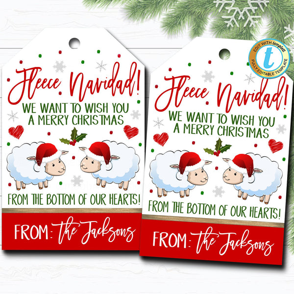 Christmas Gift Tags, Fleece Navidad, Teacher Staff Employee Holiday Gift, Blanket Mitten Sock Tag Editable Template, Self-Editing Download