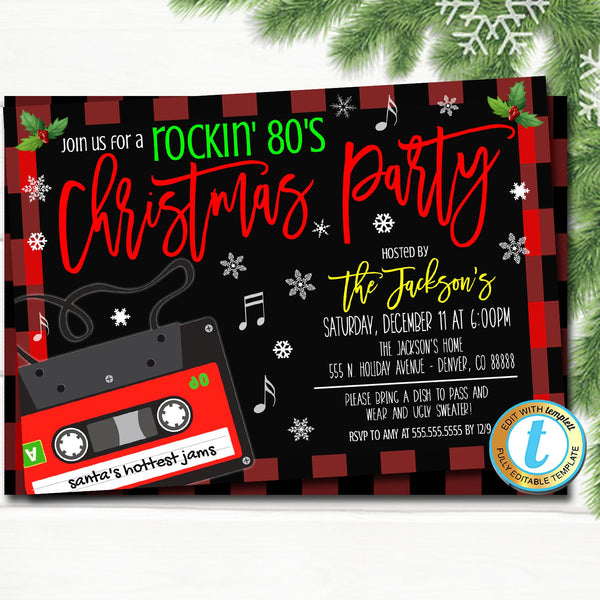Christmas Party Invitation, 80's Rockin Holiday Party Retro Vintage Plaid Hipster Christmas, Adult Cocktail Party Editable Template Download