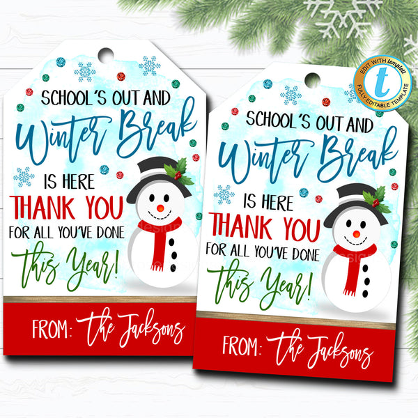 Christmas Gift Tags, Winter Break Thank You Snow Much For All You Do, Teacher Staff Holiday Gift, School Pto Pta, DIY Self-Editing Download