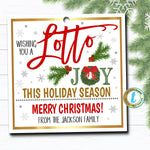 Christmas Lottery Ticket Gift Tag, Wishing you a Lotto Joy, Holiday Teacher Staff Employee Tag, School Pto Pta Xmas, DIY Editable Template