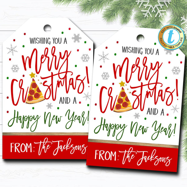 Christmas Pizza Gift Tags, Holiday Merry Crustmas Funny Gift Tag Label, Secret Santa Coworker Teacher Staff Xmas Tag, DIY Editable Template