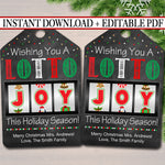 Christmas Lottery Gift Tag Printable, Wishing You a Lotto Joy, Work Teacher Staff, Holiday Party Exchange Gift Tag Editable INSTANT DOWNLOAD