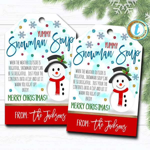 Christmas Gift Tags, Snowman Soup Hot Cocoa, Teacher Classroom Party, Kid's Holiday Gift Hang Tag, Xmas Treat Label, DIY Editable Template