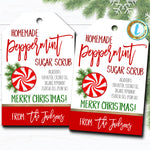 Christmas Gift Tags, Peppermint Sugar Scrub Tag, Holiday Spa Pedicure Bath Tag, Holiday Teacher Staff Gift, Secret Santa, Editable Template