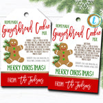 Christmas Gift Tags, Cookie Jar Mix, Gingerbread Recipe Tag Holiday Teacher Staff Secret Santa Gift, Xmas Treat Label DIY Editable Template