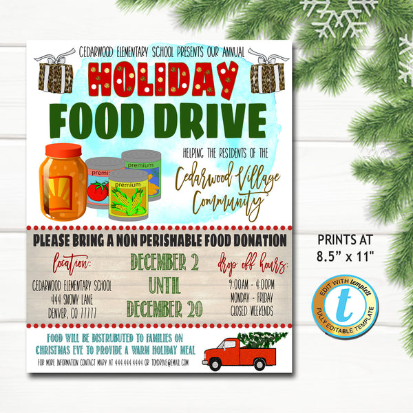 Holiday Food Drive Flyer, Christmas School Church Pto Pta, Holiday Nonprofit Charity Kids, Editable Template, Xmas Shopping DIY Self-Editing