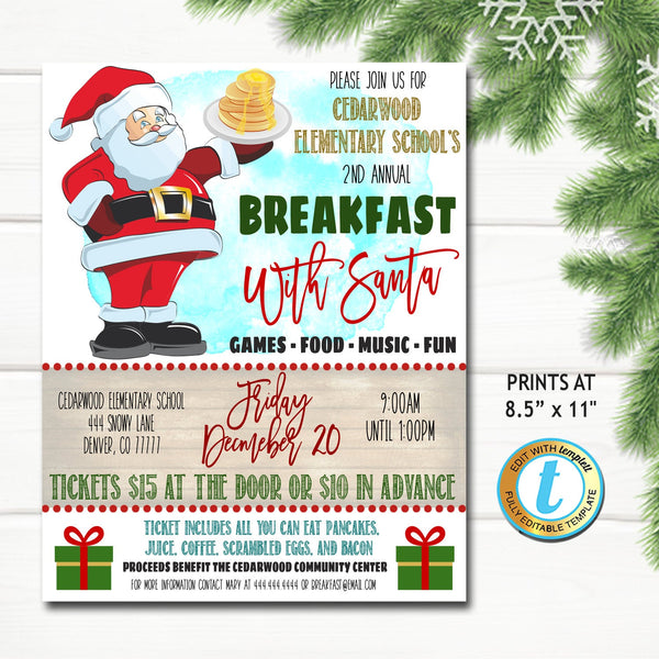 Breakfast with Santa Flyer, Christmas School Church Pto Pta, Holiday Kids Brunch Party, Editable Template, Xmas Fundraiser DIY Self-Editing