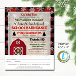 Winter Dance Flyer, Christmas School Dance, Church Pto Pta, Holiday Kids Rustic Plaid Barn Dance Party, Fundraiser DIY Self-Editing Template