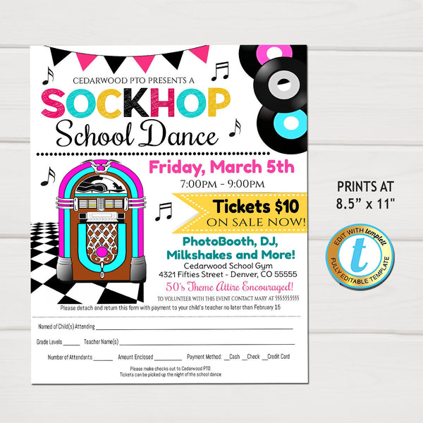 Sock Hop School Dance Flyer, 50's theme School Dance, Church Pto Pta, Kids Fifties Decades Dance Party Invite Fundraiser, EDITABLE Template