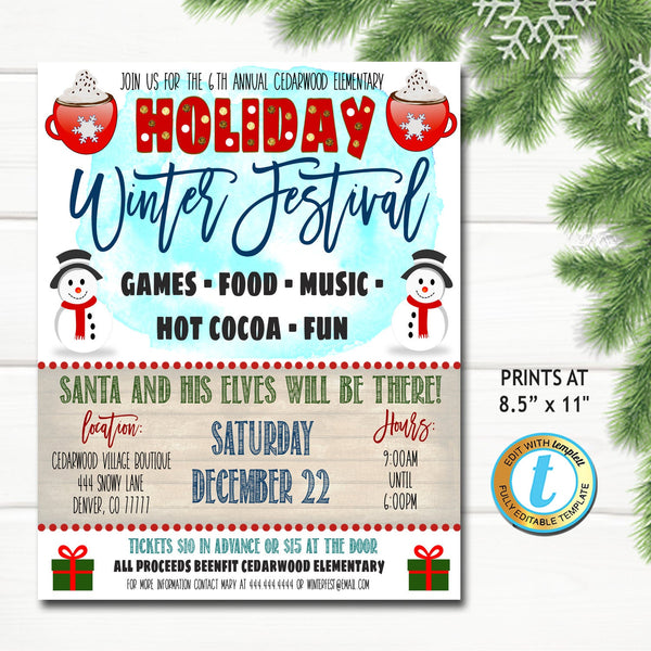 Holiday Festival Flyer, Christmas Market Fair Invitation, Christmas Boutique Shopping Event Xmas School Church Business, Editable Template