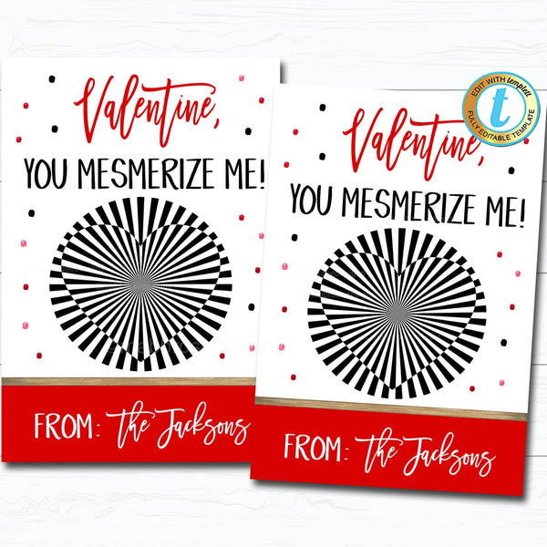 Valentine Gift Card, Happy Valentine's Day Game Optical Illusion Treat Gift Label, Classroom School Friend Valentine, DIY Editable Template