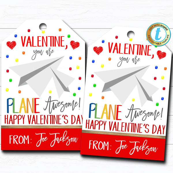 Valentine Paper Airplane Gift Tags, You Are Plane Awesome Valentine Tag, Gift Classroom School Teacher Staff Valentine DIY Editable Template