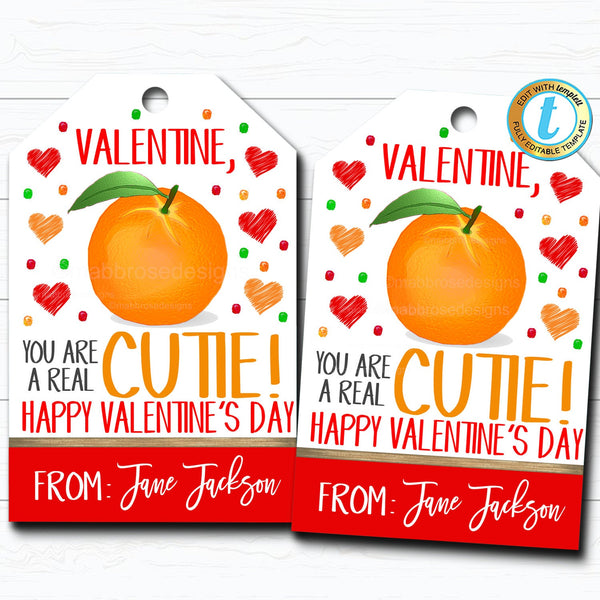 Valentine Cutie Gift Tags, You're a Cutie, Orange Fruit Valentine Tag, Gift Classroom School Teacher Staff Valentine DIY Editable Template