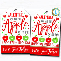 Valentine Apple Gift Tags, You're The Apple of My Eye, Apple Fruit Valentine, Classroom School Teacher Staff Valentine DIY Editable Template