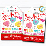 Valentine Teacher Gift Tags, Takes a Big Heart To Teach Little Minds, Valentines Day Candy Chocolate Treat Gift Label, DIY Editable Template