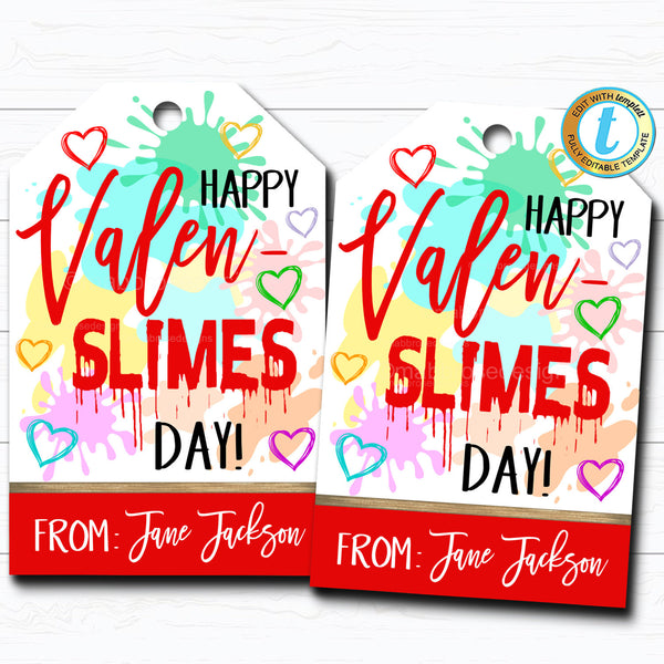 Valentine Slime Tags, Happy Valen-Slimes Day Tag, Kid Classroom Friend, School Teacher Valentine Gift, Printable DIY Editable Template