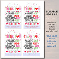 Valentines Mint Tags, Thank You Labels, Printable, INSTANT + EDITABLE, Valentine Appreciation Gift, PTA Pto Teacher Staff Nurse Employee