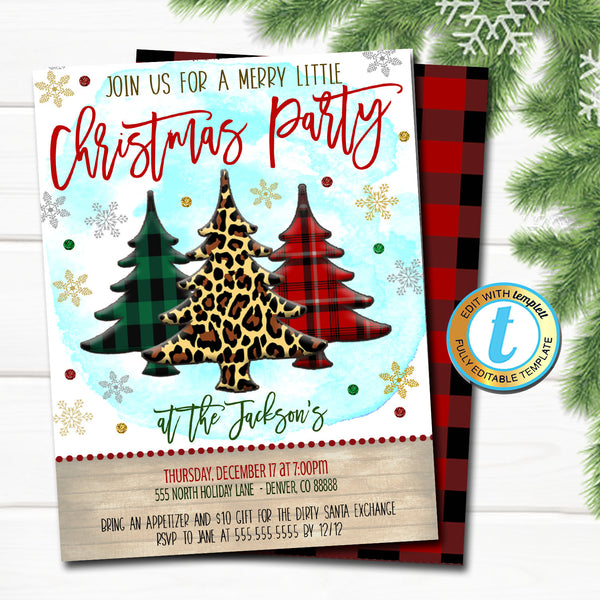 Christmas Tree Party Invitation, Leopard and Buffalo Plaid Rustic Farmhouse Invite Holiday Housewarming Cocktail Party DIY Editable Template