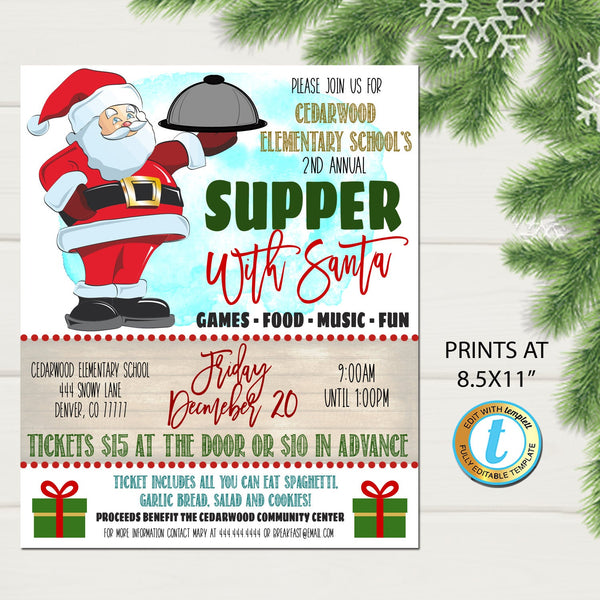 Supper with Santa Flyer, Christmas School Church Pto Pta, Holiday Kids Dinner Party, Editable Template, Xmas Fundraiser DIY Self-Editing
