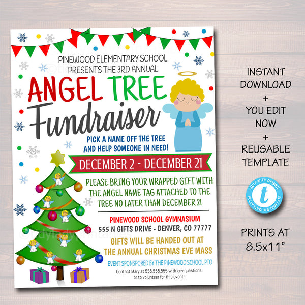 Christmas Angel Tree Fundraiser Flyer, Christmas Charity Nonprofit Printable, Community Xmas Event Church School Pto Pta Fundraiser Invite