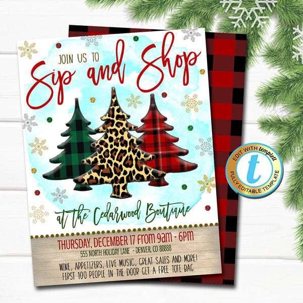 Christmas Shopping Invitation, Leopard and Buffalo Plaid Rustic Farmhouse Invite Holiday Sip and Shop Cocktail Party DIY Editable Template