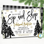 Holiday Sip and Shop Invitation, Christmas Boutique Shopping Event, Small Business Open House Editable Template, DIY Self-Editing Download