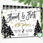 Flannel and Frost Party Invitation, Christmas Party Plaid Invitation, Holiday Cocktail Party, Editable Template, DIY Self-Editing Download