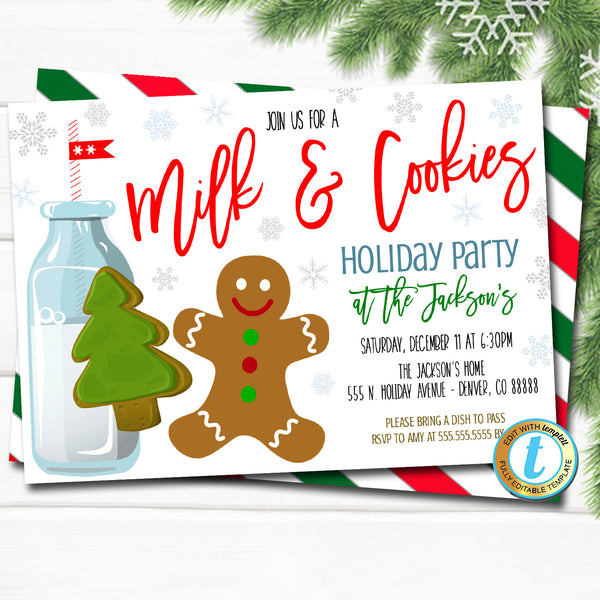 Milk and Cookies Christmas Party Invitation, Kids Gingerbread Birthday Preppy Invite, Holiday Cookie Exchange Party, DIY Editable Template