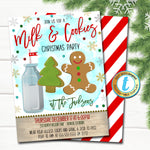 Milk and Cookies Christmas Party Invitation, Kids Gingerbread Birthday Invite Holiday Cookie Exchange Decorating Party DIY Editable Template