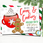 Cocoa and Cookies Christmas Party Invitation, Kids Gingerbread Birthday Preppy Invite, Holiday Cookie Exchange Party, DIY Editable Template
