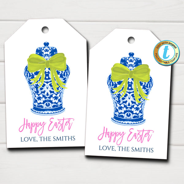 Blue Ginger Jar Gift Tags, Spring Easter Gift Label, Preppy Southern Style Card, Chinoiserie Chic Wrapping, DIY Editable Template Download