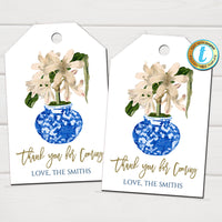 Blue Ginger Jar Gift Tags, Any Occasion Gift Label, Preppy Southern Style Card, Chinoiserie Chic Wrapping, DIY Editable Template Download