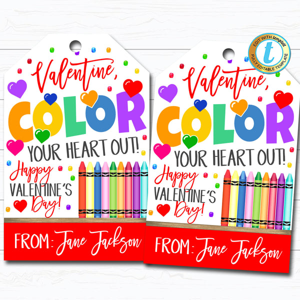 Valentine Crayon Gift Tags, Color Your Heart Out Non Candy Valentine Tag, Classroom School Teacher Staff, Valentine DIY Editable Template