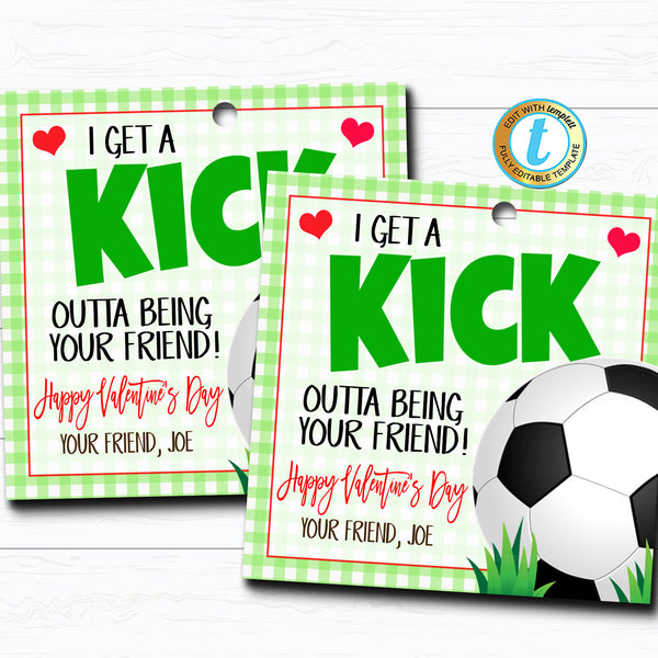 Soccer Valentines, Boy Sports Ball Valentine Card Gift Classroom Party School, Teacher Staff Valentine Tag, DIY Printable Editable Template