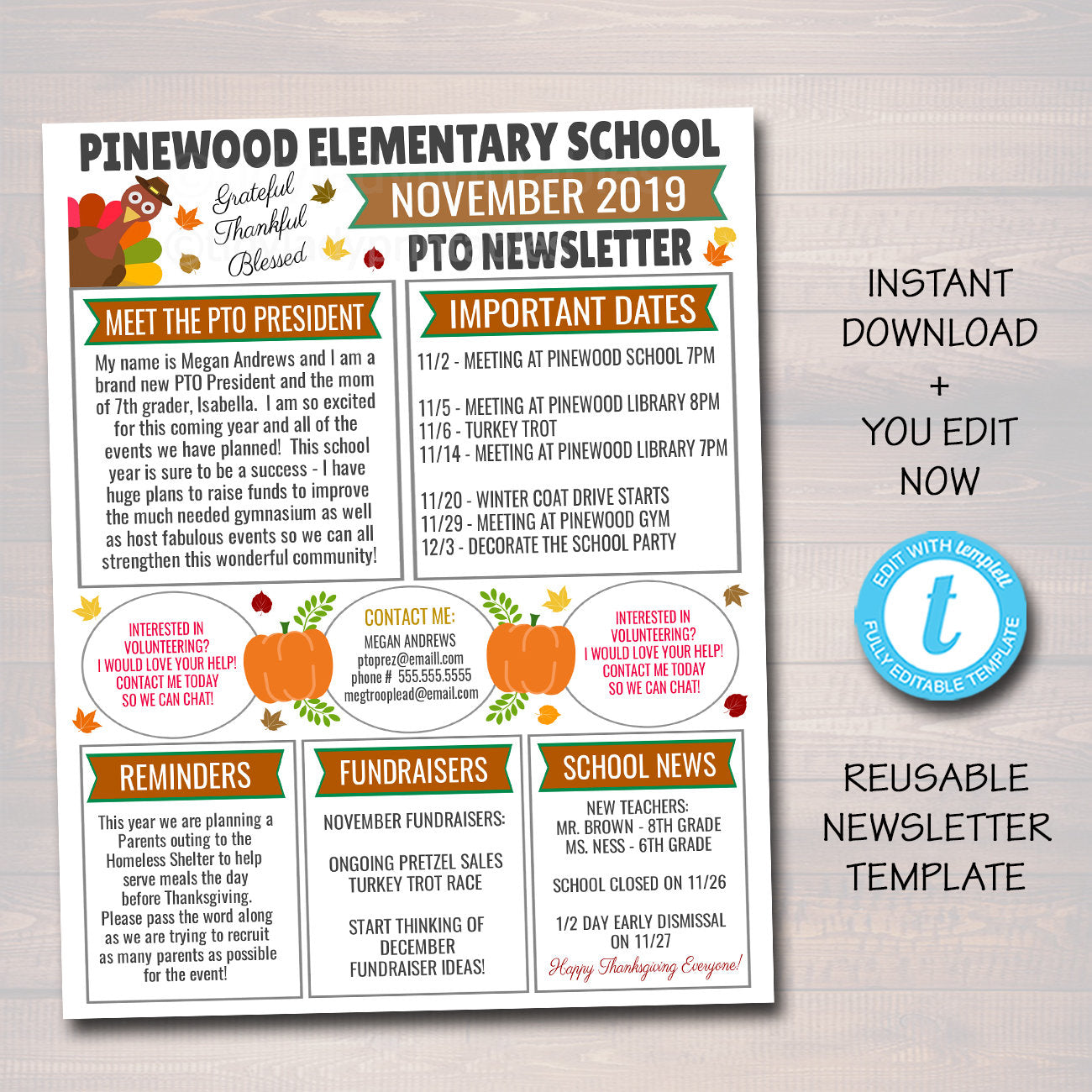 School Calendar of Events Handout and Flyer Template Printable Back to School Newsletter Update Editable file for PTA PTO
