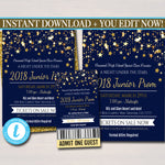 EDITABLE Prom Set, Dance Flyer Invitation Ticket Starry Night, Gold Glitter Under The Stars High School Event, Pto, Pta INSTANT DOWNLOAD