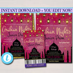EDITABLE Prom Set, Dance Flyer Invitation Ticket, Arabian Nights Theme Moroccan Bollywood, India High School Event Pto, Pta INSTANT DOWNLOAD